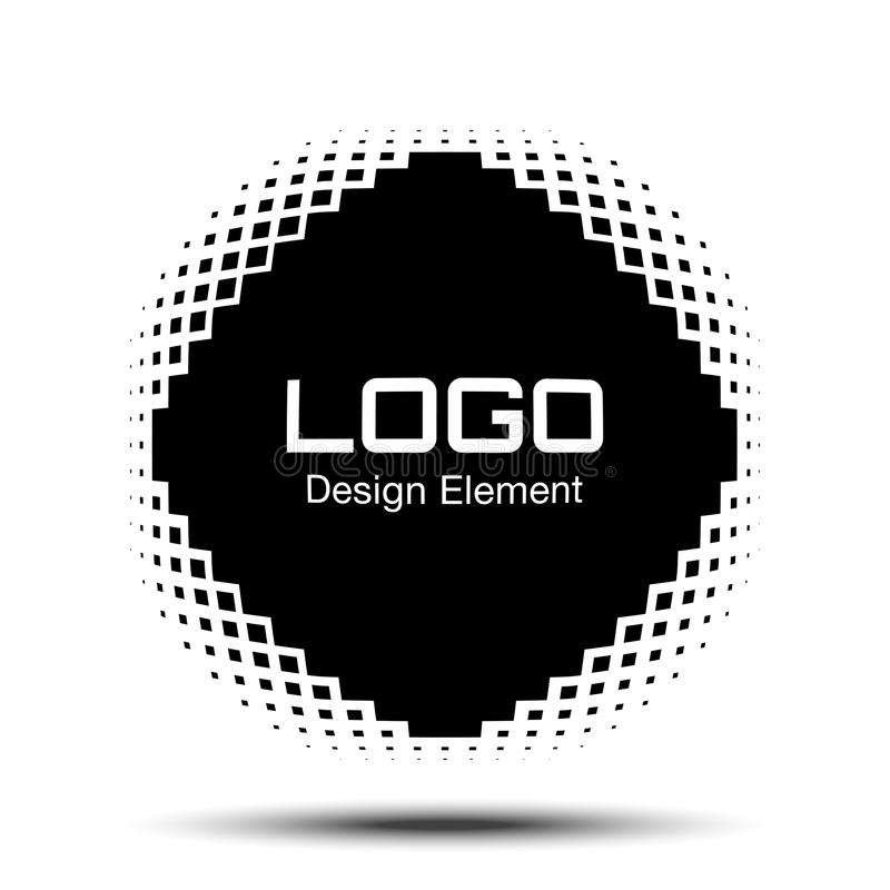 凸面黑抽象传染媒介变形了与半音正方形小点商标的菱形方形的框架新技术背景的 库存例证