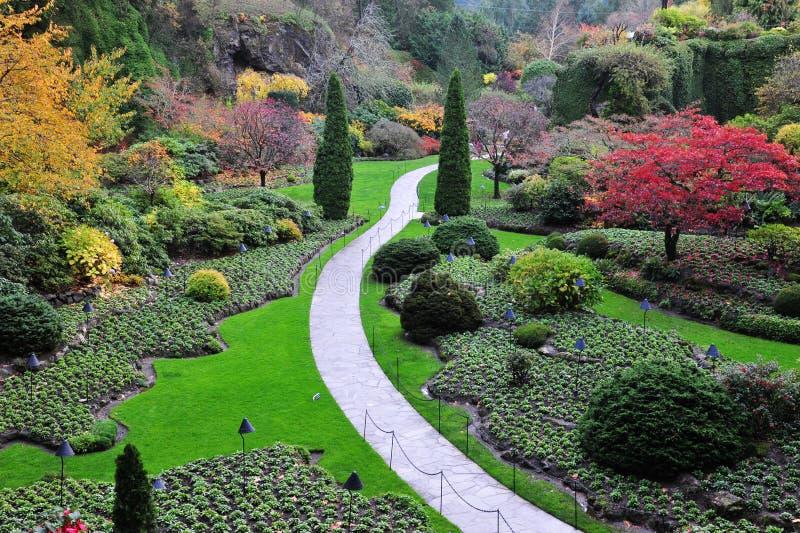 凹下去秋天的庭院 免版税库存照片
