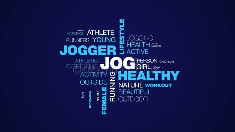 凹凸部健康慢跑者生活方式适合的健身体育锻炼赛跑者女性人民给词在uhd 4k的云彩背景赋予生命 库存例证