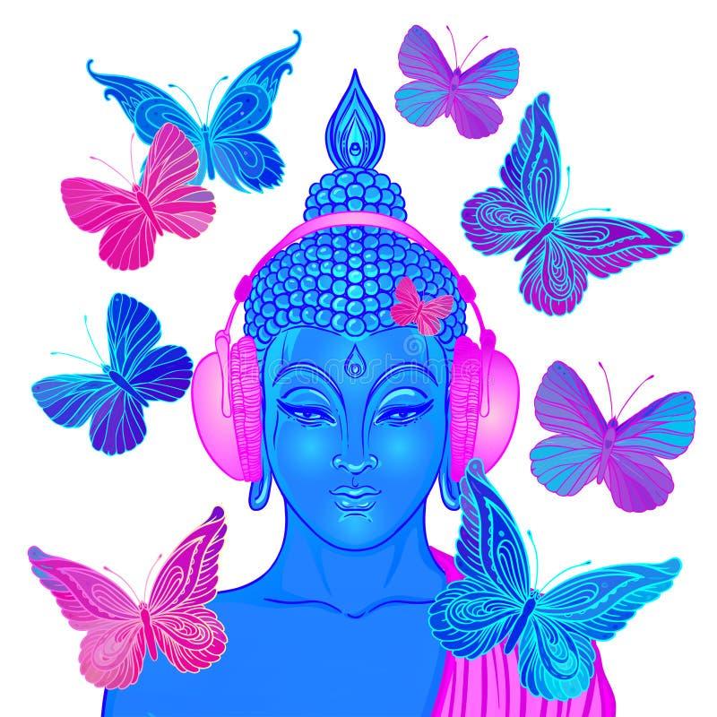 凹线 听到在耳机surro的音乐的现代菩萨 向量例证