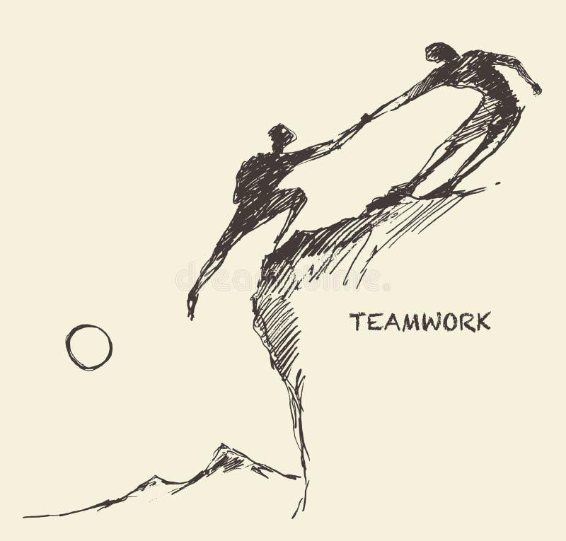 凹道帮助的人攀登配合合作剪影 向量例证