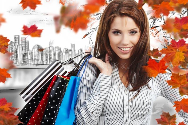 凹道购物中心购物妇女 免版税库存照片