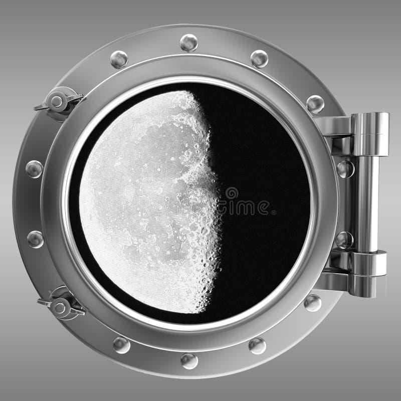 出于对月亮考虑的舷窗 皇族释放例证