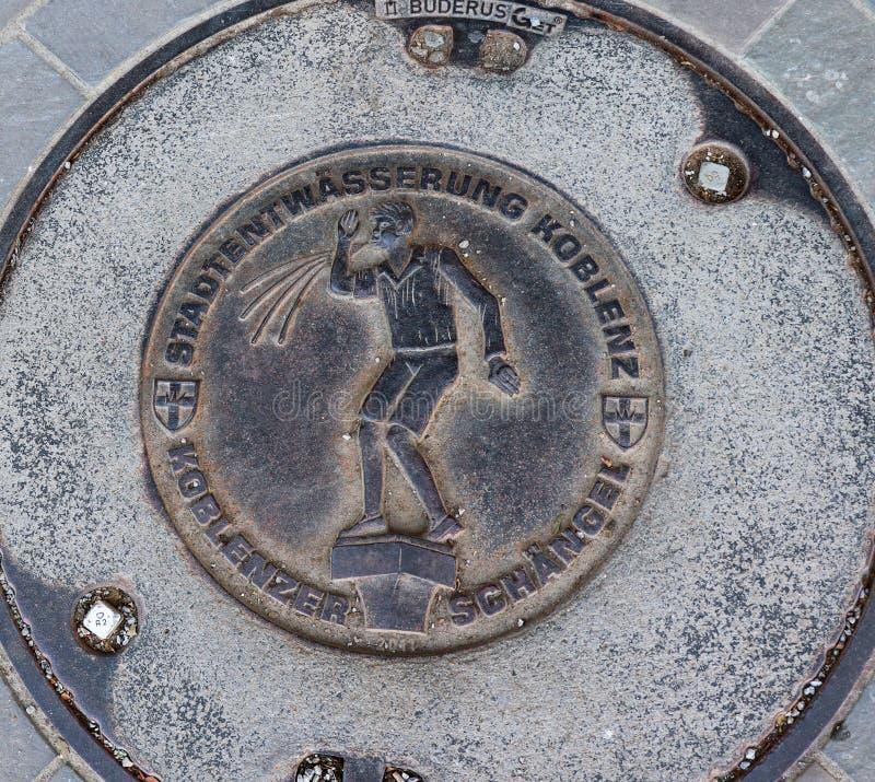 出入孔/流失盖子在科布伦茨,德国 免版税库存图片
