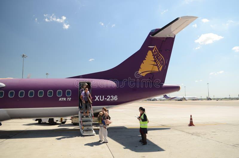 出发柬埔寨吴哥空气 免版税库存图片