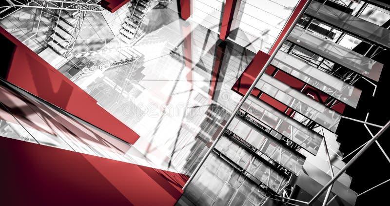 出口。现代工业内部,台阶,在industr的干净的空间 库存例证