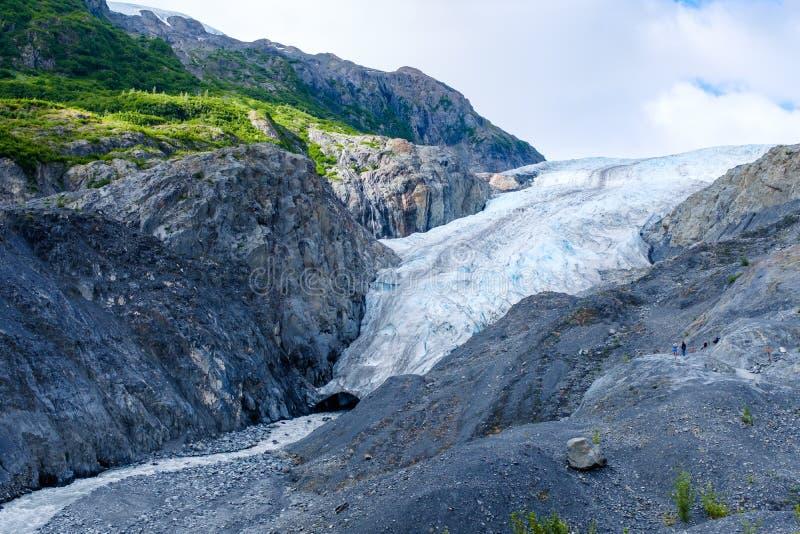 出口冰川的看法在阿拉斯加,美国 免版税库存照片