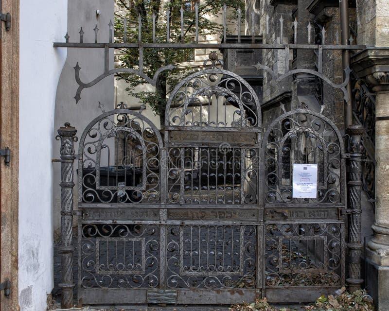 出口门老犹太公墓,布拉格,捷克 库存照片