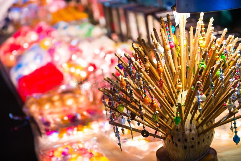 出售的木簪子在Jonker步行Melaka 库存图片