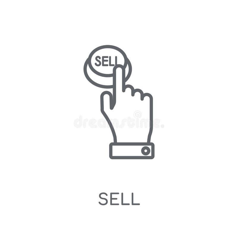 出售线性象 在白色后面的现代概述出售商标概念 库存例证