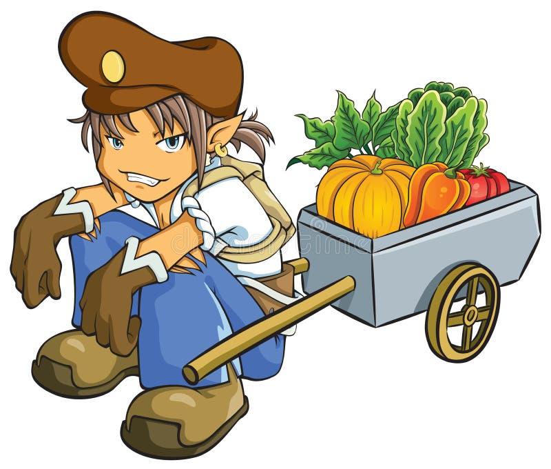 出售蔬菜的贸易商 向量例证