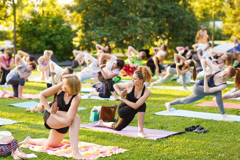 出席瑜伽班外部的大小组成人在公园 库存照片