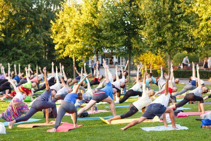 出席瑜伽班外部的大小组成人在公园 免版税图库摄影