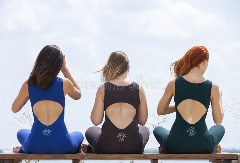 出席瑜伽班外部的小组成人在公园 库存图片