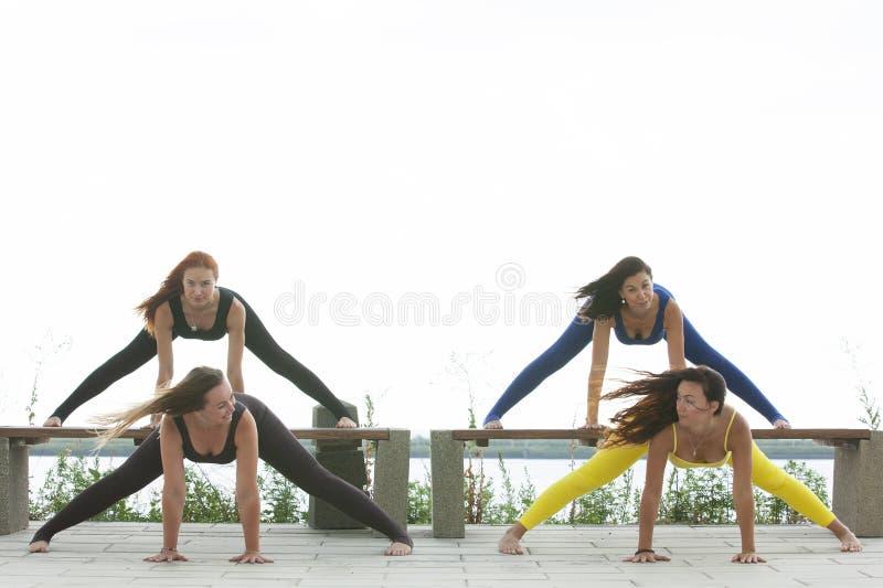 出席瑜伽班外部的小组成人在公园 免版税库存照片