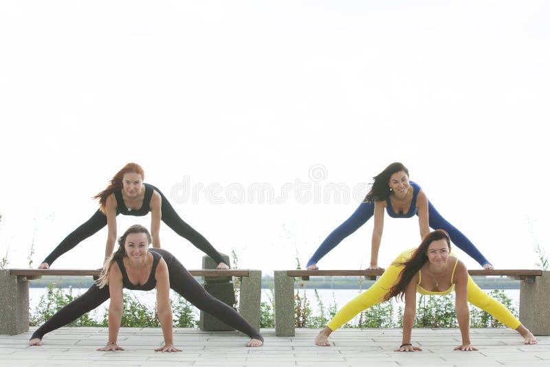 出席瑜伽班外部的小组成人在公园 免版税库存图片
