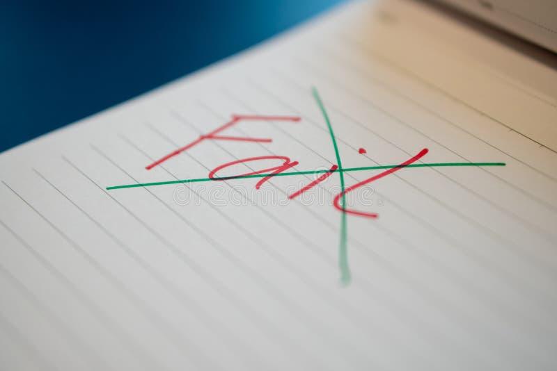 出故障文本用有一支红色笔的一只手并且注销了与在笔记本的一支绿色笔 用手成功消息与一支绿色笔是 库存照片