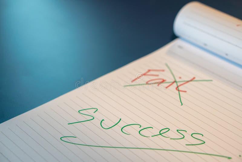 出故障文本用有一支红色笔的一只手并且注销了与在笔记本的一支绿色笔 用手成功消息与一绿色penFai 库存照片