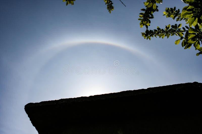 出现于在罗马尼亚的天空的各种各样的太阳光晕 免版税库存照片