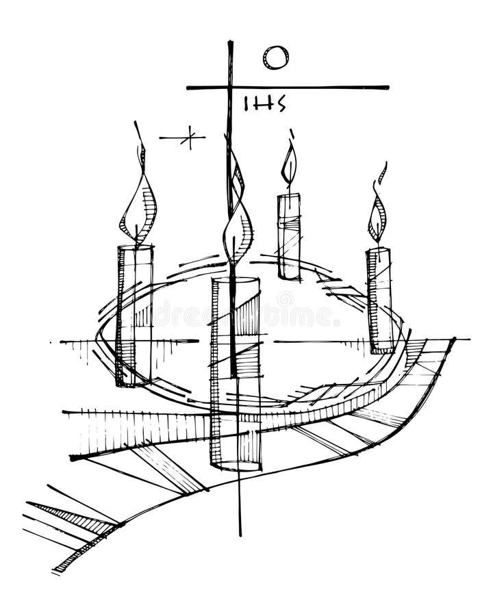 出现冠、蜡烛和宗教基督徒十字架 向量例证