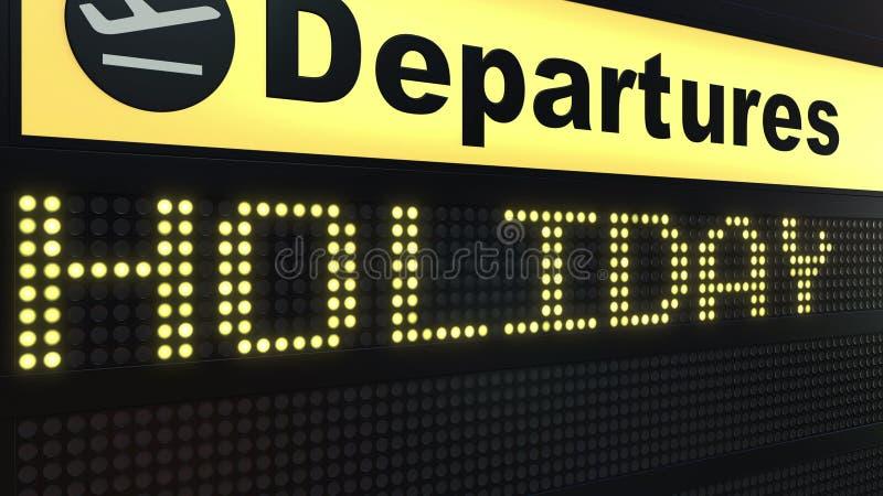 出现在机场离开委员会的假日词 3d翻译 库存例证