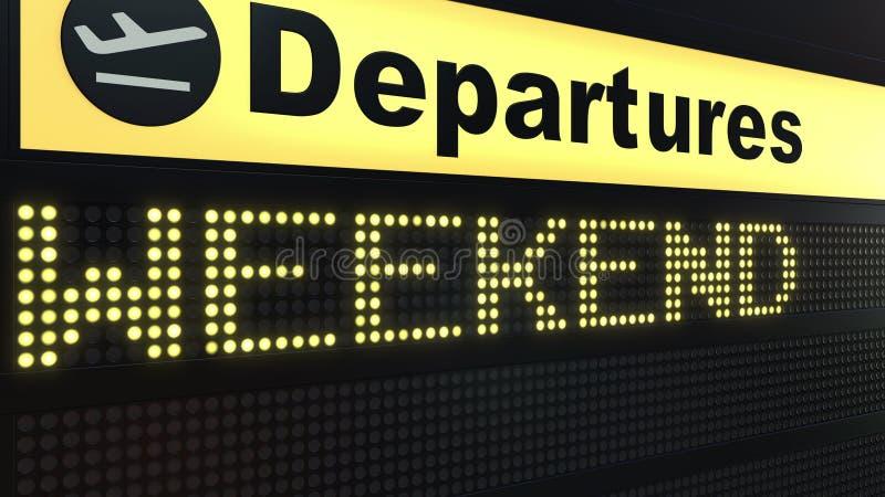 出现在机场离开委员会的周末词 3d翻译 皇族释放例证