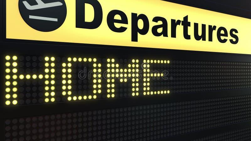 出现在机场离开委员会的家庭词 3d概念性翻译 皇族释放例证
