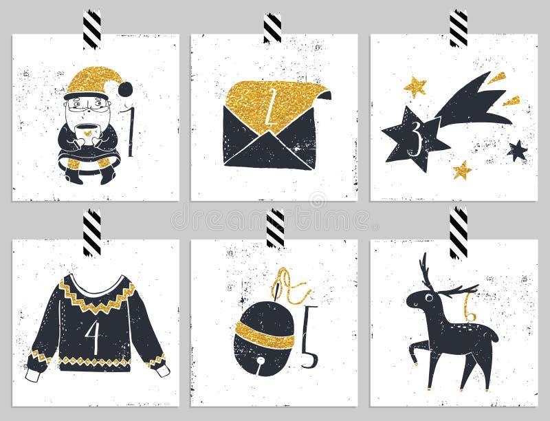 出现日历动画片圣诞节要素图标计时多种 六天圣诞节 皇族释放例证