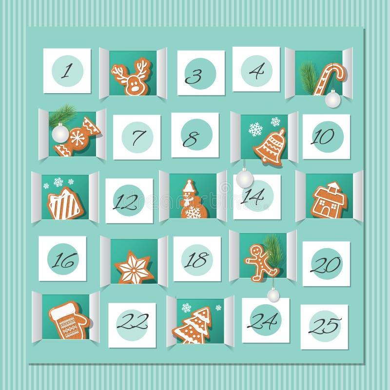 出现日历,装饰的wirh姜饼曲奇饼 圣诞节读秒 向量 库存例证
