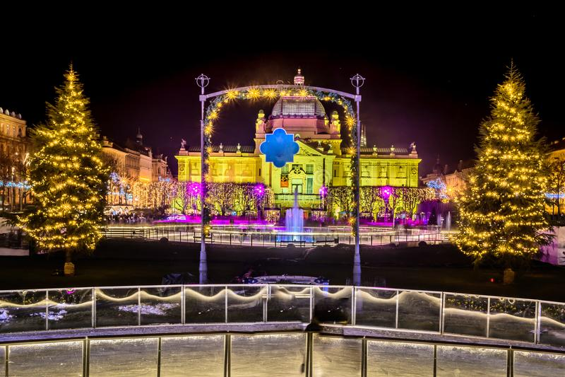 出现时间在萨格勒布市中心,克罗地亚 图库摄影