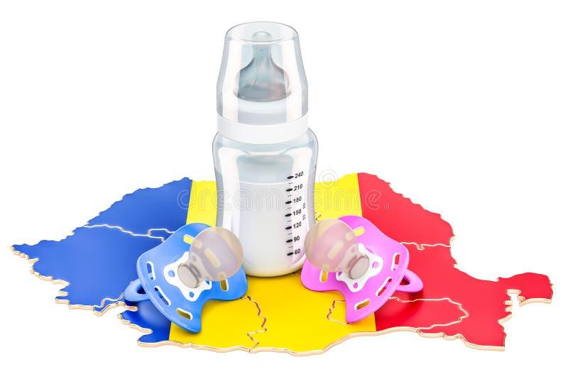 出生率和父母身分在罗马尼亚概念, 3D翻译 皇族释放例证