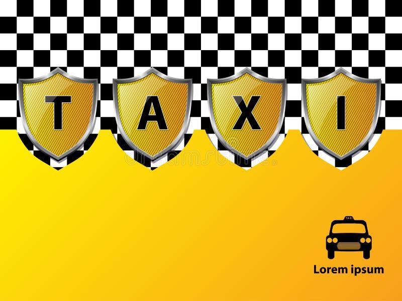 出租汽车与金属屏蔽的广告背景 向量例证