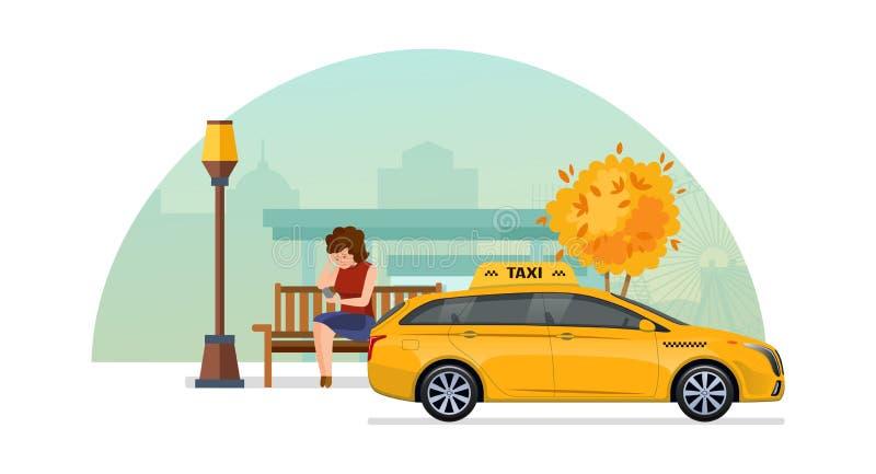 出租汽车命令服务 女孩在秋天公园,预定的出租汽车 库存例证