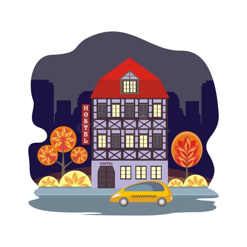 出租汽车和旅舍 向量例证