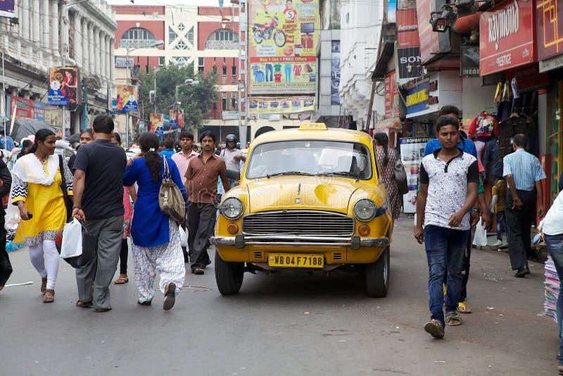出租汽车在加尔各答,印度 免版税库存图片
