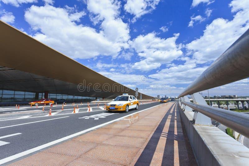 出租汽车在北京首都机场 免版税库存图片
