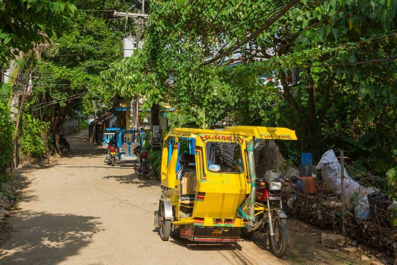 出租汽车在博拉凯村庄,菲律宾 库存照片