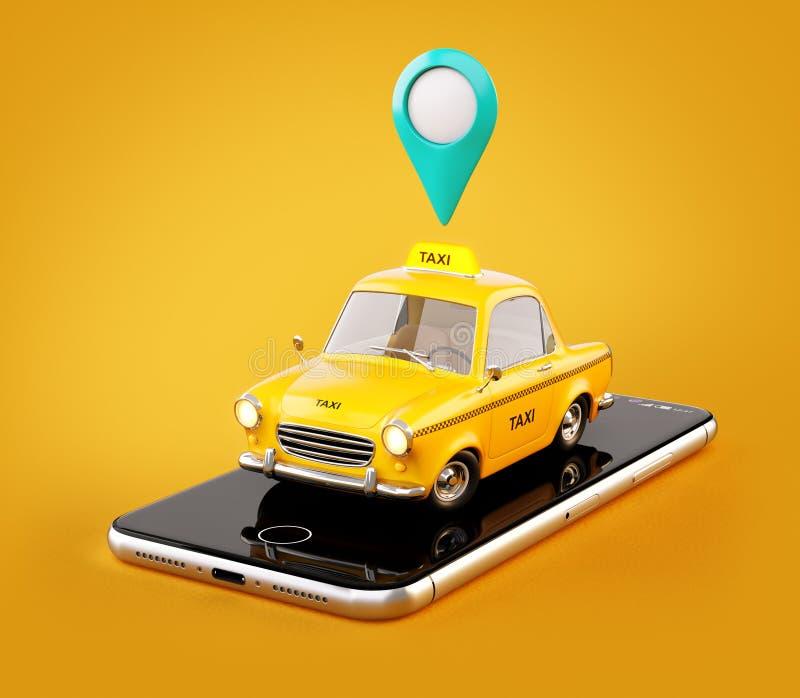 出租汽车服务的智能手机应用网上搜索的叫和预定小室 皇族释放例证