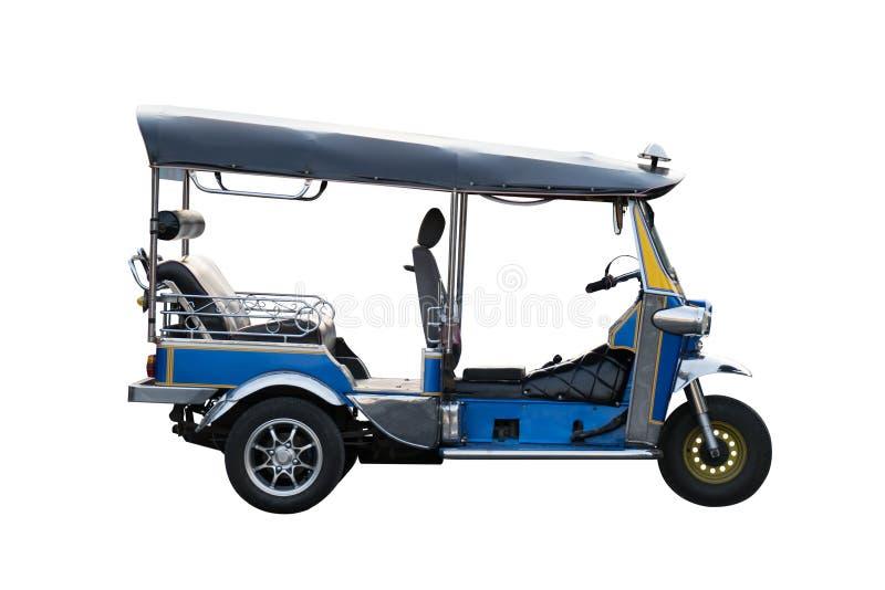 出租汽车汽车在泰国孤立的Tuk tuk在白色背景 免版税库存照片