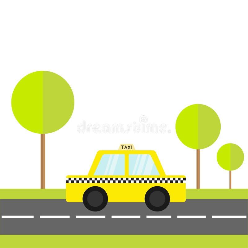 出租汽车汽车在路的小室象 绿草,树 动画片运输汇集 黄色计程车 验查员线,轻的标志 新 向量例证