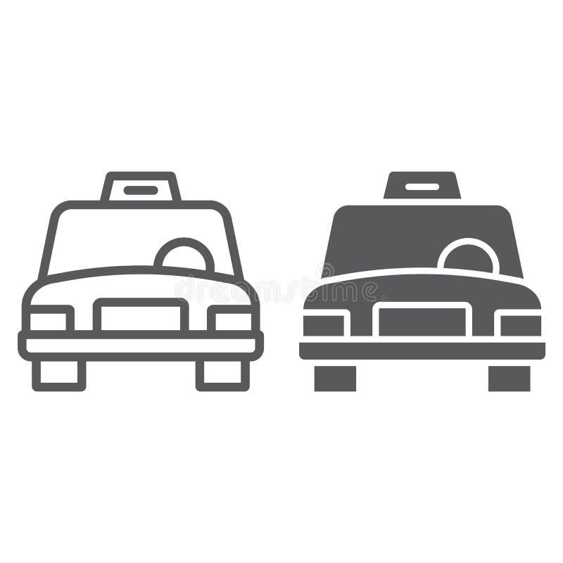 出租汽车线和纵的沟纹象、交通和汽车,小室标志,向量图形,在白色背景的一个线性样式 皇族释放例证