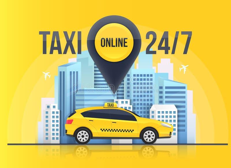 出租汽车联机服务横幅,在透明背景隔绝的都市城市摩天大楼的创造性的传染媒介例证 向量例证