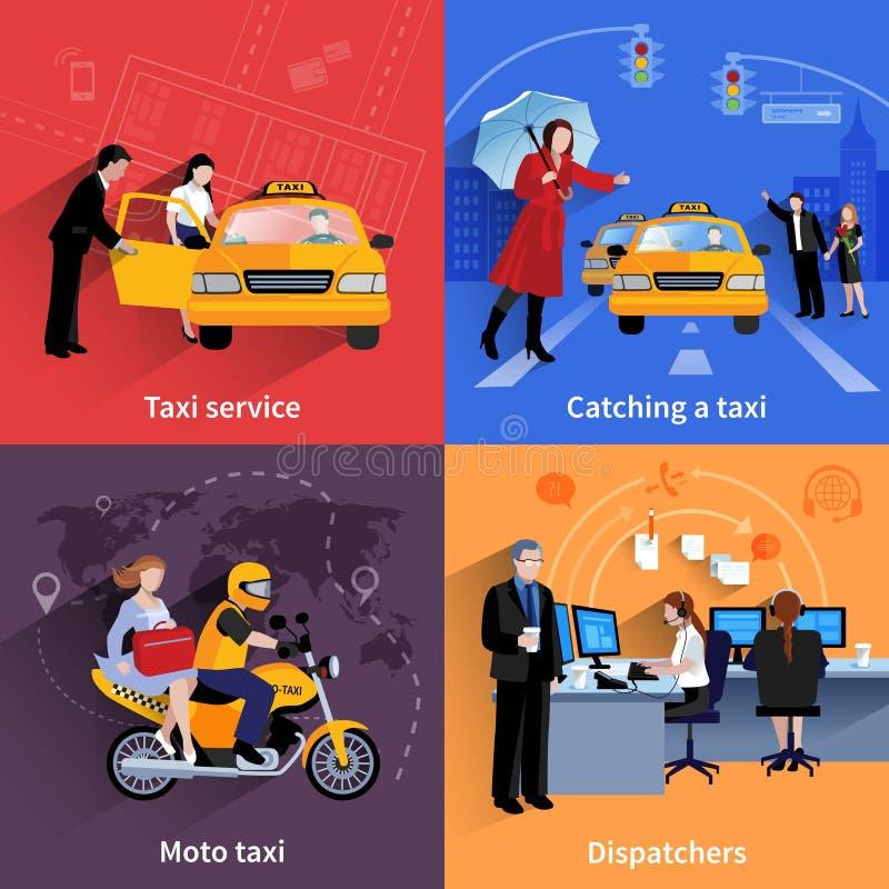 出租汽车被设置的服务2x2横幅 向量例证