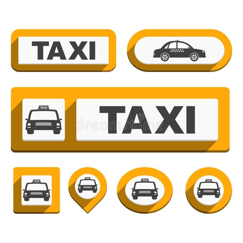 出租汽车象和按钮 向量例证