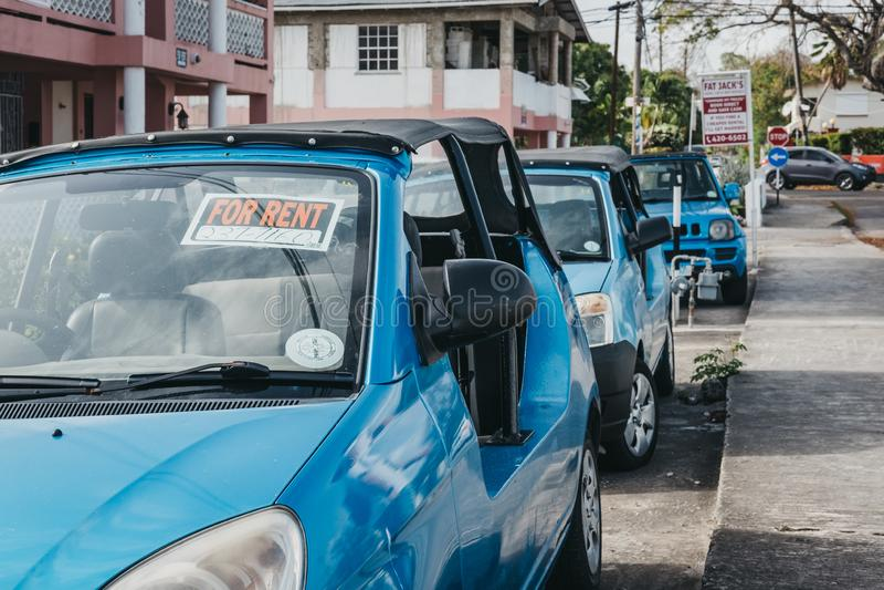 出租车在基督教会,巴巴多斯行  免版税库存图片