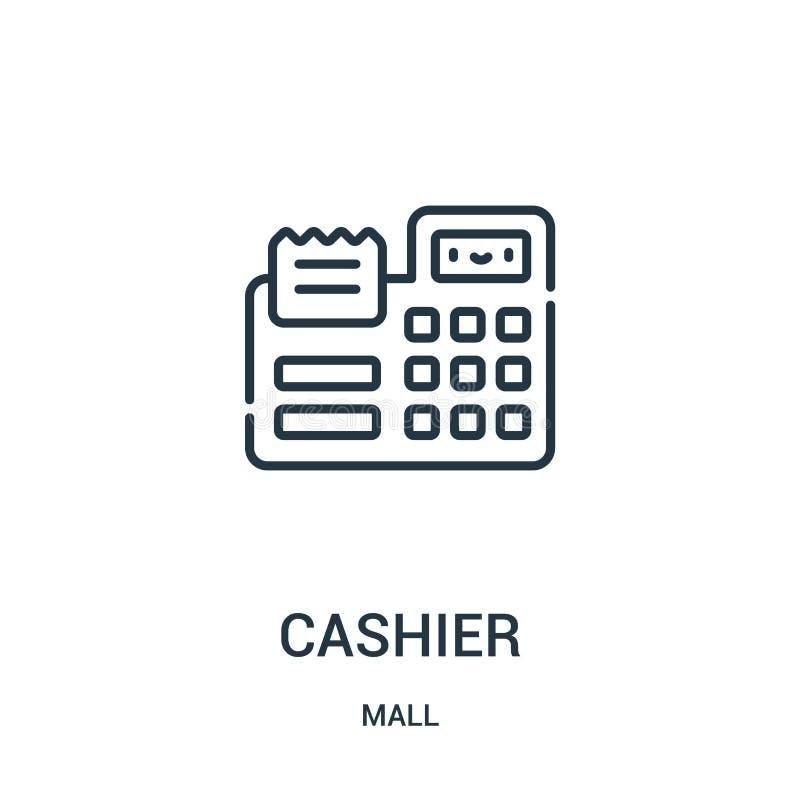 出纳员从购物中心汇集的象传染媒介 稀薄的线出纳员概述象传染媒介例证 线性标志为在网的使用和 库存例证