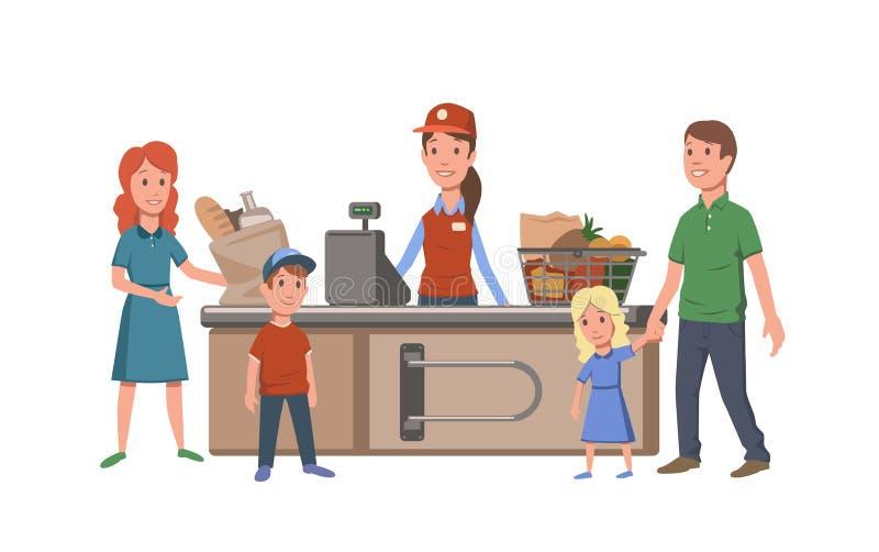出纳员和顾客收款机的在便利商店 家庭买的食物在超级市场 平的传染媒介 皇族释放例证