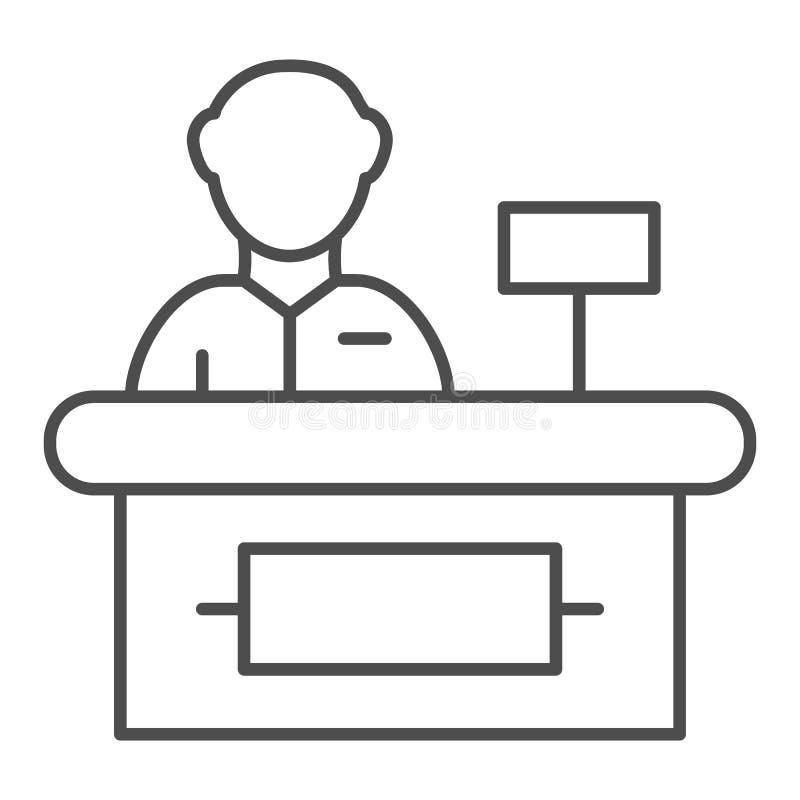 出纳员稀薄的线象 超级市场出纳员在白色隔绝的传染媒介例证 现金概述样式设计,被设计 库存例证