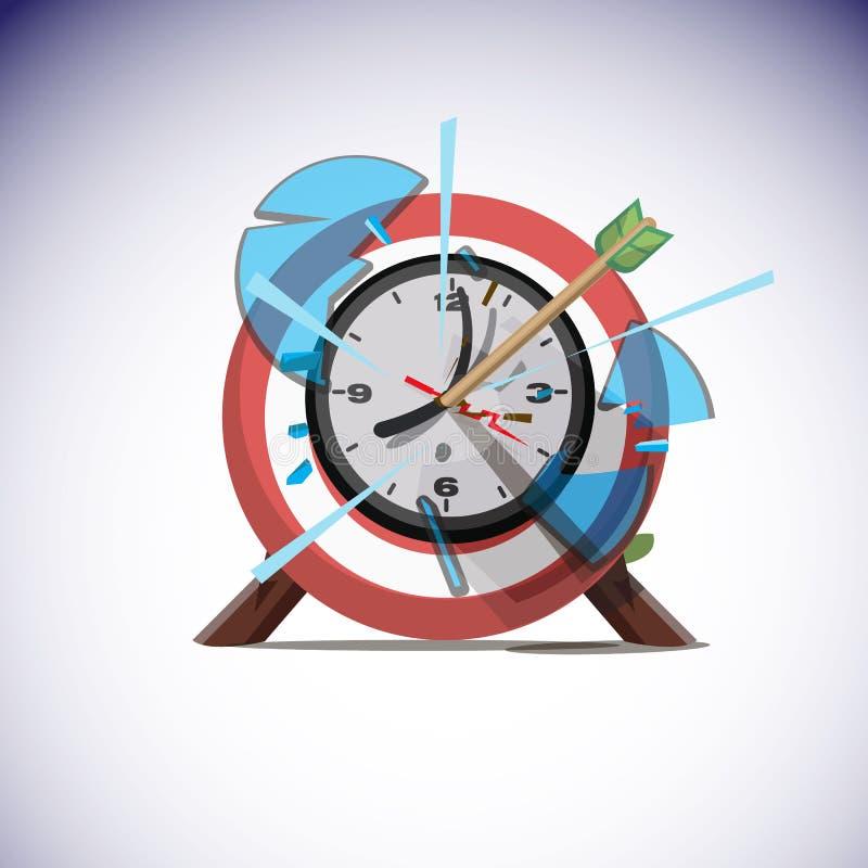 击中壁钟的中心箭头 成功时间概念- 皇族释放例证