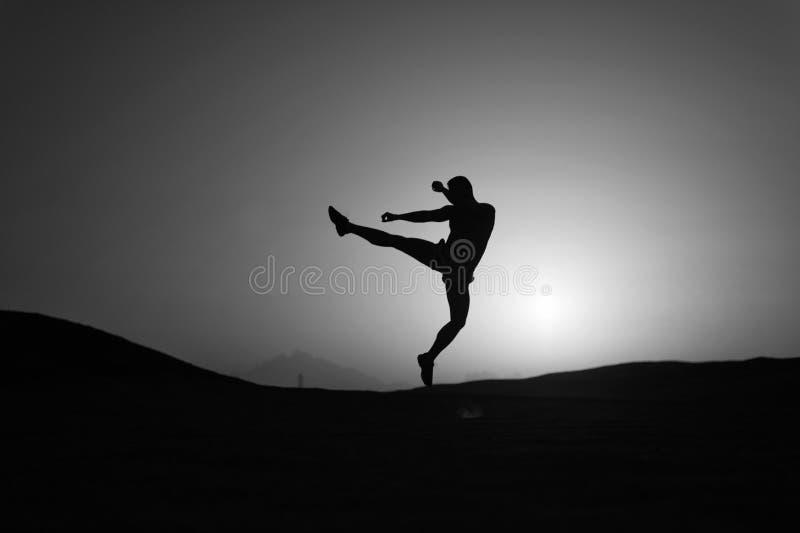击中您的目标 剪影人在日落天空背景前面的行动跃迁 每日刺激 健康生活方式 库存照片
